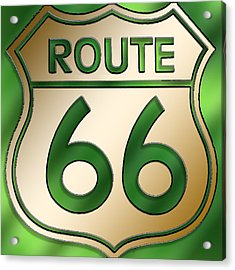 Acrylic Print featuring the digital art Gold Route 66 Sign by Chuck Staley