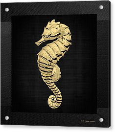 Gold Seahorse On Black Canvas Acrylic Print
