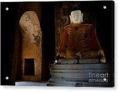 Gold Shrouded Buddha In Burma Basks In Natural Light By Temple Portal Acrylic Print