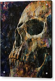 Gold Skull Acrylic Print by Michael Creese