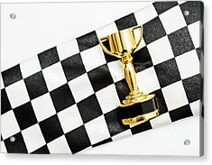 Gold Trophy On A Checked Sport Flag Acrylic Print by Jorgo Photography - Wall Art Gallery