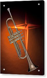 Gold Trumpet With Cross On Orange Acrylic Print by M K  Miller