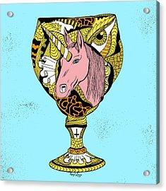 Gold Unicorn Goblet Acrylic Print by Kenal Louis