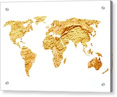 Gold World Map Watercolor Painting Acrylic Print