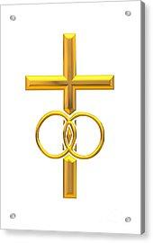 Golden 3d Look Cross With Wedding Rings Acrylic Print