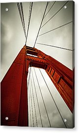 Golden Abstract Acrylic Print by Peter Irwindale