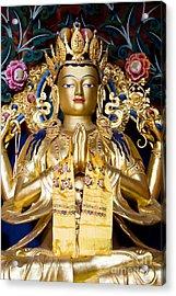Golden Amitaba Buddha Statue Acrylic Print by Tim Gainey