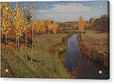 Golden Autumn Acrylic Print by Isaac Levitan