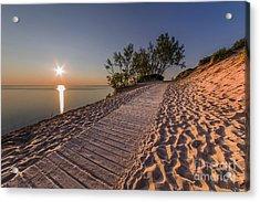 Golden Boardwalk Acrylic Print by Twenty Two North Photography