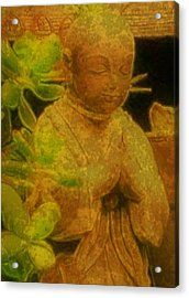 Golden Buddha Acrylic Print by Jen White