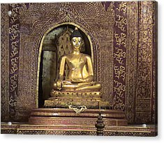 Golden Buddha Of Chang Mai Acrylic Print by William Thomas