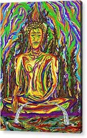 Golden Buddha Acrylic Print by Robert SORENSEN