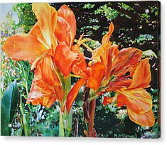 Golden Cannas Acrylic Print by Kathleen Ballard