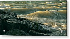 Golden Capped Sunset Waves Of Lake Michigan Acrylic Print