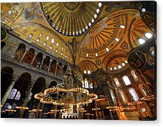 Golden Ceiling Domes And Lit Chandeliers In The Hagia Sophia Ist Acrylic Print by Reimar Gaertner
