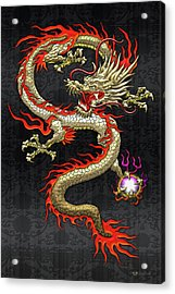 Golden Chinese Dragon Fucanglong On Black Silk Acrylic Print
