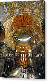 Golden Domes Frescoe And Crooked Qiblah Wall Inside The Hagia So Acrylic Print by Reimar Gaertner