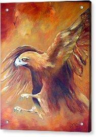 Golden Eagle Acrylic Print by Zoe Landria