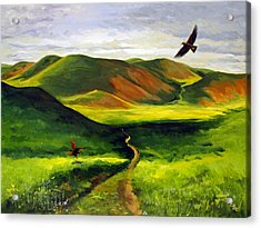 Acrylic Print featuring the painting Golden Eagles On Green Grassland by Suzanne McKee