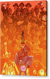 Acrylic Print featuring the digital art Golden Era Icons Collage 1 by Nelson dedos Garcia