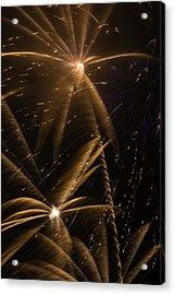 Golden Fireworks Acrylic Print by Garry Gay