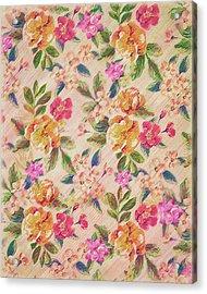 Golden Flitch Digital Vintage Retro  Glitched Pastel Flowers  Floral Design Pattern Acrylic Print