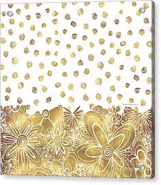 Golden Floral Curly Cue Pattern Chic And Contemporary Trendy Art By Megan Duncanson Acrylic Print by Megan Duncanson