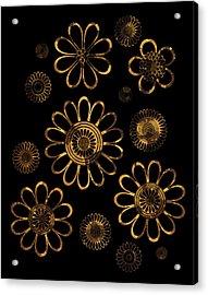 Golden Flowers Acrylic Print by Frank Tschakert