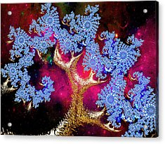 Golden Fractal Tree Acrylic Print