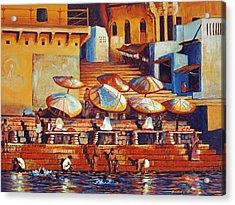 Golden Ganges Acrylic Print by Art Nomad Sandra  Hansen