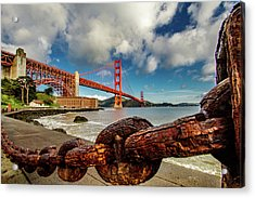 Golden Gate Bridge And Ft Point Acrylic Print by Bill Gallagher