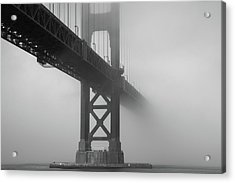Acrylic Print featuring the photograph Golden Gate Bridge Fog - Black And White by Stephen Holst
