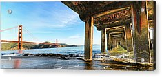 Golden Gate Bridge From Under Fort Point Pier Acrylic Print by Steve Siri