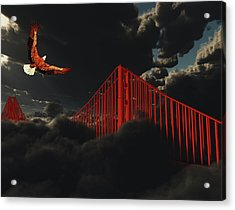Golden Gate Bridge In Heavy Fog Clouds With Eagle Acrylic Print by Bruce Rolff