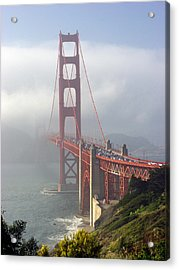 Golden Gate Bridge In The Fog Acrylic Print by Mathew Lodge