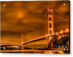 Acrylic Print featuring the photograph Golden Gate Bridge - Nightside by Jim Carrell