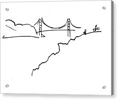 Acrylic Print featuring the drawing Golden Gate Bridge by Patrick Morgan