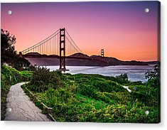 Golden Gate Bridge San Francisco California At Sunset Acrylic Print