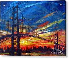 Golden Gate Bridge Sketch Acrylic Print