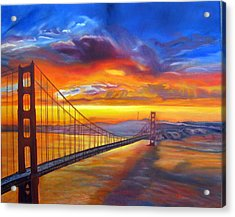 Golden Gate Bridge Sunset Acrylic Print by LaVonne Hand