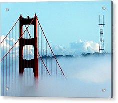Golden Gate Bridge Tower Fog Antenna Acrylic Print by Jeff Lowe