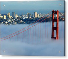Golden Gate Bridge Tower In Sunshine And Fog Acrylic Print by Jeff Lowe