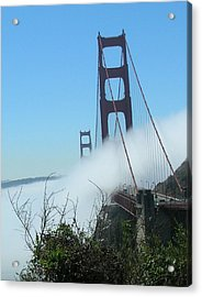 Golden Gate Bridge Towers In The Fog Acrylic Print by Bonnie Muir