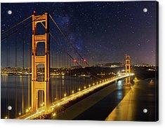 Golden Gate Bridge Under The Starry Night Sky Acrylic Print by David Gn