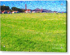 Golden Gate Bridge Viewed From Crissy Fields Acrylic Print by Wingsdomain Art and Photography