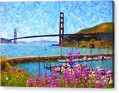 Golden Gate Bridge Viewed From Fort Baker Acrylic Print by Wingsdomain Art and Photography