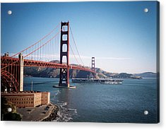 Golden Gate Bridge With Aircraft Carrier Acrylic Print