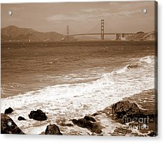 Golden Gate Bridge With Shore - Sepia Acrylic Print
