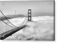 Golden Gate Bw Fog Acrylic Print by Chuck Kuhn