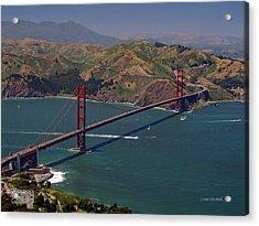 Golden Gate Acrylic Print by Donna Blackhall